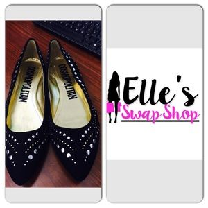 Cosmopolitian  Shoes - Black Silver & Gold Studded Flats