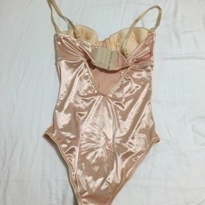 Urban Outfitters Other - Kimchi Blue Nude Pink Satin Bustier Bodysuit 0a7b38a33