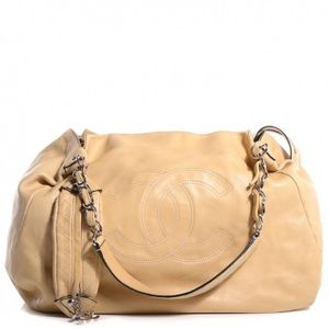 CHANEL Lambskin Edgy Hobo In Beige