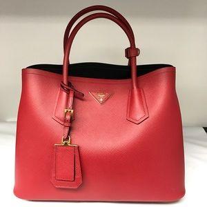 Prada Handbags - Prada double bag Saffiano cuir red