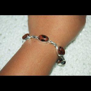 """Dark Obsidian handmade Statement Bracelet 7""""Lenght"""