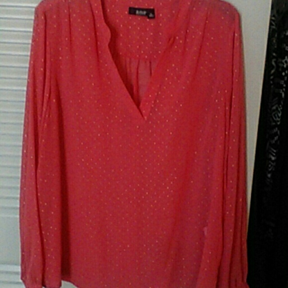 A N A Salmon Colored W Gold Studs Sheer Shirt From