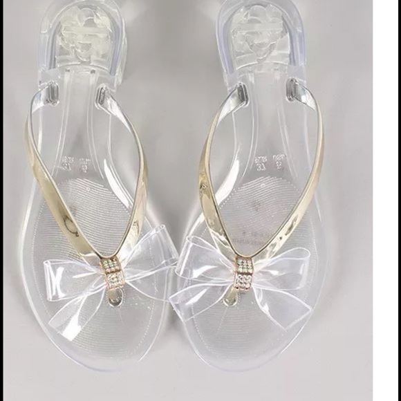 64640d57b Clear jelly thong sandals with bow   rhinestones