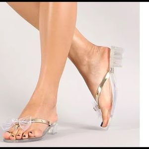d2f7f7021 Bamboo Shoes - Clear jelly thong sandals with bow   rhinestones