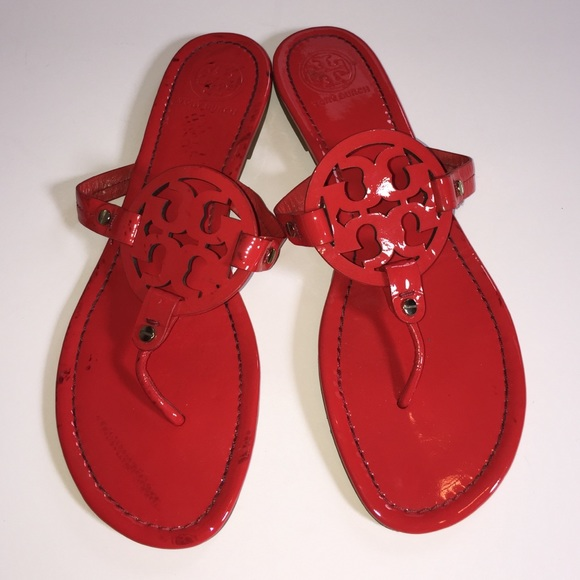 dafd65ab233073 Tory Burch Miller Red Patent Leather Sandals Shoes.  M 555621f1feba1f11db0054ed