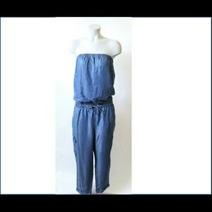 NWT Chambray strapless jumpsuit sz XL