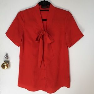 The Limited Tops - Red orange bow blouse from the limited