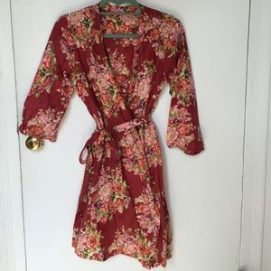 Dresses & Skirts - Deep red and teal floral robe
