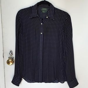 Ralph Lauren Tops - Ralph Lauren navy blue silk blouse