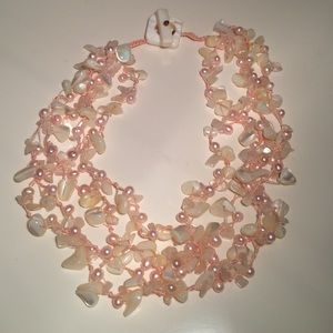 Pearl & Shell Statement Necklace White & Pink