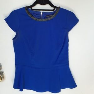 Express Tops - Cobalt blue peplum top