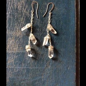 Quartz crystal silver dangle earrings