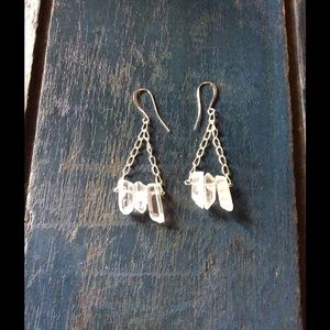 Quartz crystal triangle earrings