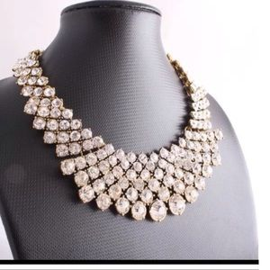 Gold crystals statement necklace