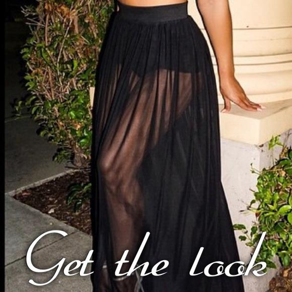 2dc5e3edee Fire Los Angeles Skirts | Black Sheer Pleated Skirt | Poshmark