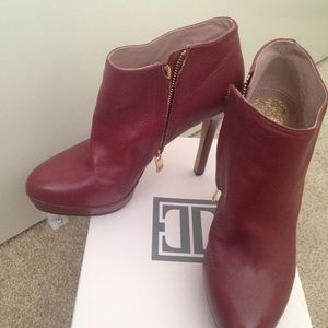 Dark red leather booties