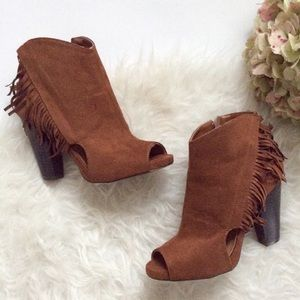 Charlotte Russe fringe booties size 8