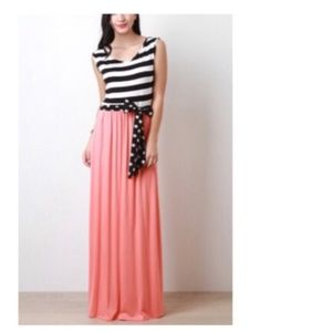Coral B&W Striped & Polka Dot Maxi Dress