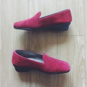 AEROSOLES Shoes - Aerosoles Red Suede Slip-on Loafers