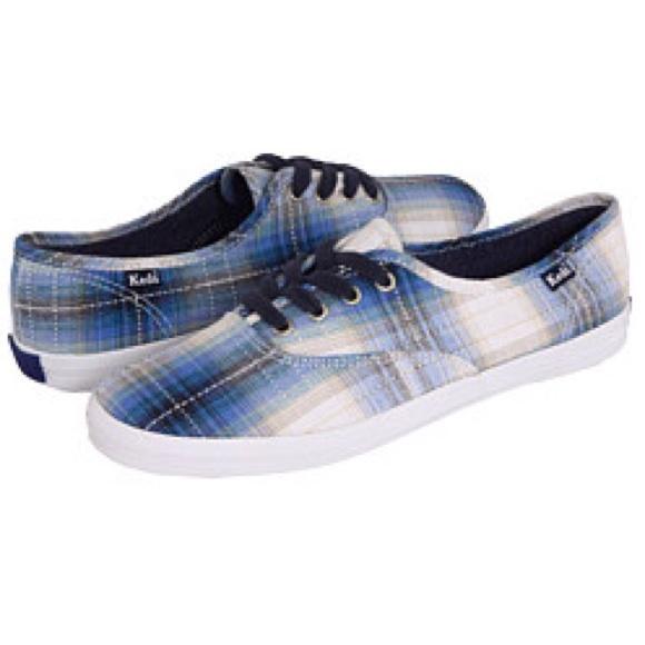 64 keds shoes keds blue plaid canvas sneaker tennis