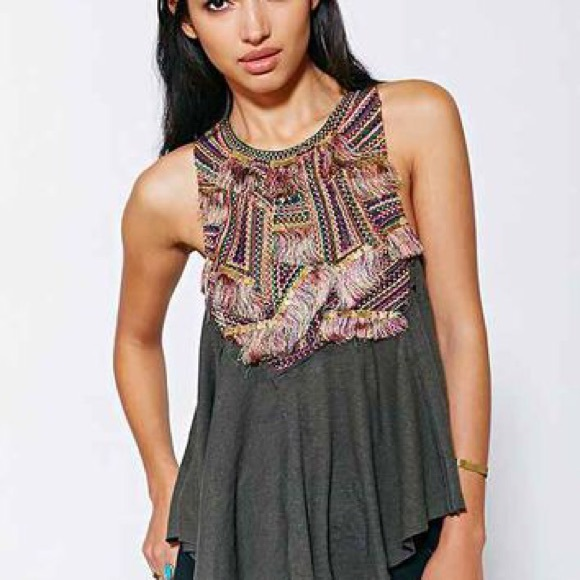URBAN OUTFITTERS ECOTE Green Embroidered Tank Top a37a0284e