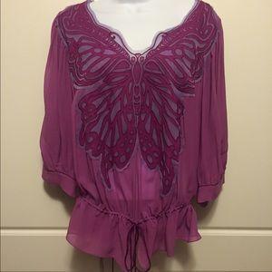 Vivienne Tam Tops - Vivienne Tam Lilac Silk Butterfly Top
