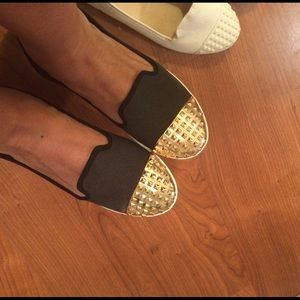 Shoes - SOLD || Black and gold studded loafers shoes 8.5