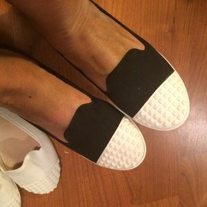 Shoes - SOLD || Black and cream studded loafers flats 8.5