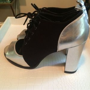 Urban Outfitters Shoes - SOLD || New Silver & Black suede heels |   8.5