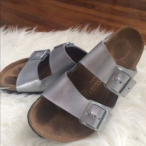 Metallic Silver Birkenstocks