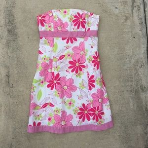 Strapless Tropical Print Dress
