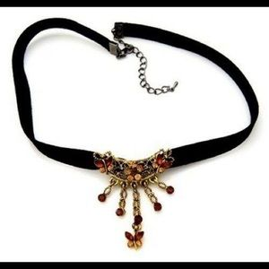 Floral Butterfly Choker Necklace