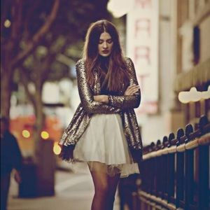 Tarnished Sequin Stardust Jacket in Gold