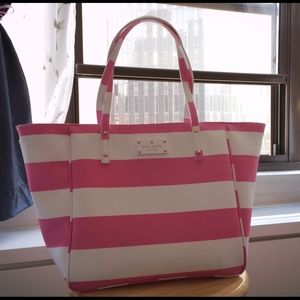 Brand new pink & white kate spade tote