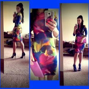 Rainbow body con dress