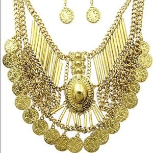 Kristee P Jewelry - Gold Toned Vintage Coin Statement Set