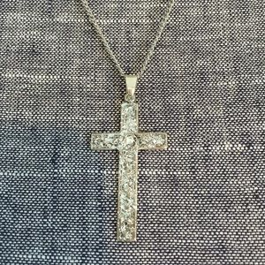 Hand painted Silver Glittery CROSS Necklace