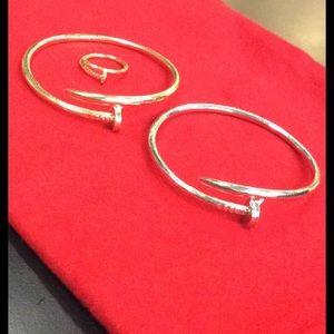 ❎$6bundled❎ NAIL silver bracelet or NAIL gold ring