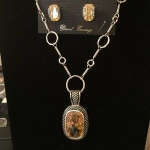 Park Lane Jewelry - HOLD yellow Topaz necklace, earrings &chain.