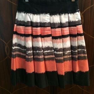 H&M Black White & Orange Skirt Size 6 Box Pleats