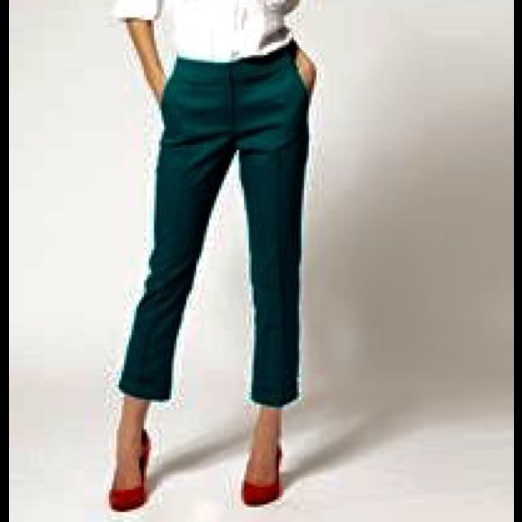 80% off Express Pants - Express editor hunter green cropped pants ...