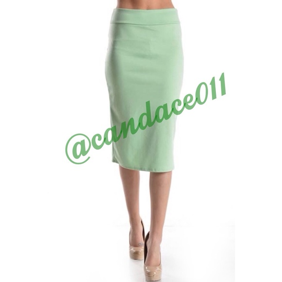 boutique pencil skirt mint green from