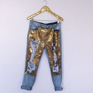 Sequin Distressed Jeans