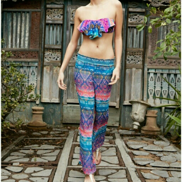 dad5915306 Jessica Simpson Pants | Nwt Printed Colorful Sheer Beach Cover Up ...