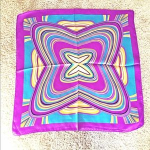 Psychedelic Abstract Curve 100% Silk Scarf *New*