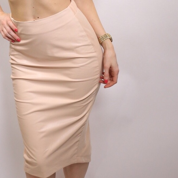 Boutique - SOLD Blush Pink Faux Leather Skirt from Kristin's ...
