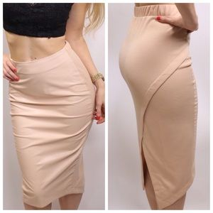 Blush pink leather pencil skirt – Fashion clothes in USA photo blog