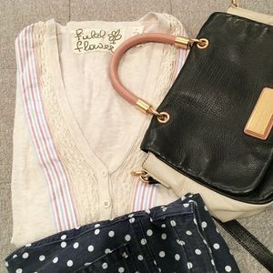 Anthropologie Striped Borders Boyfriend cardigan