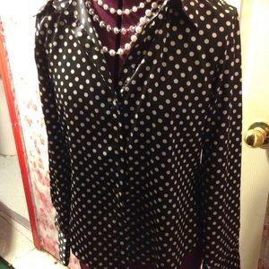Black and white polka dot polyester shirt