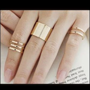 3 piece, gold, knuckle ring set